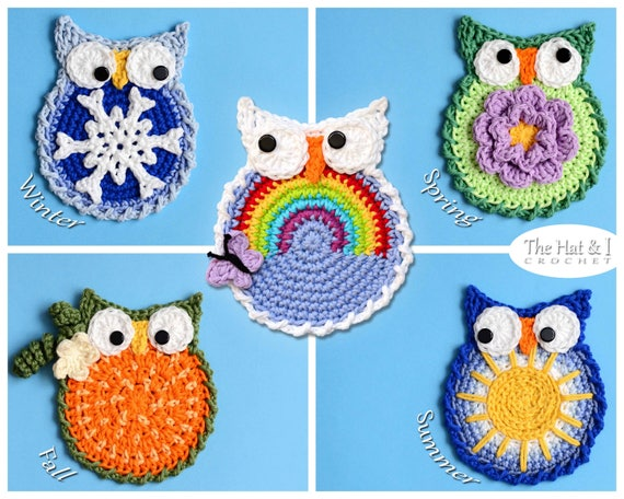 Crochet Pattern Owl Through The Year 5 Owl Patterns Etsy