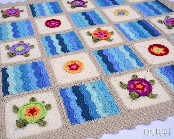 Crochet Blanket PATTERN Turtle Bay Crochet Pattern For Colorful Turtle Blanket Honu Turtle Crochet Afghan Pattern Instant PDF Download Mesmerizing Crochet Turtle Blanket Pattern
