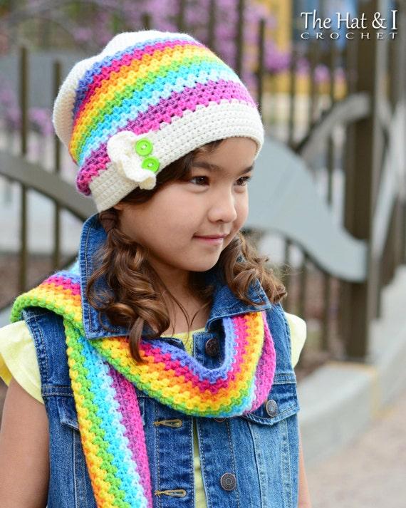 Crochet Hat Scarf Pattern Crayon Box Crochet Pattern For Etsy