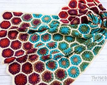Crochet Blanket PATTERN - The Dreamer - crochet pattern colorful boho gypsy throw blanket, crochet afghan pattern - Instant PDF Download