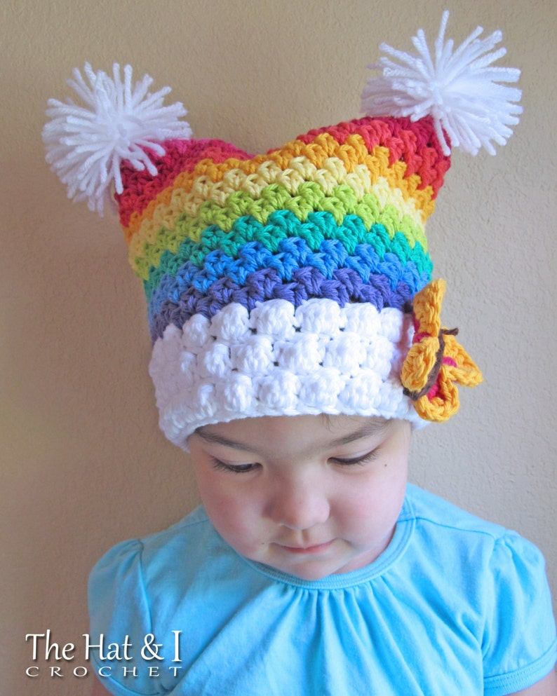 Over the Rainbow crochet pattern for rainbow hat square beanie in 6 sizes Crochet Hat PATTERN Babies - Adult S - Instant PDF Download
