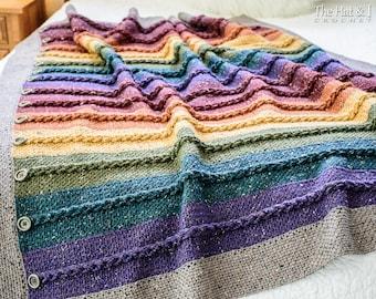 Crochet Blanket PATTERN - Buttons & Braids Blanket - crochet pattern braided throw blanket, easy afghan pattern - Instant PDF Download