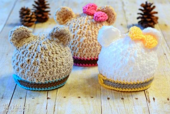 Crochet Hat Pattern Modern Bear Beanie Crochet Pattern For Etsy