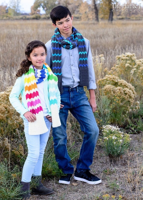 Crochet Scarf PATTERN - Rise & Shine Chevron Scarf - crochet pattern for women men kids scarf (4 sizes included) - Instant PDF Download
