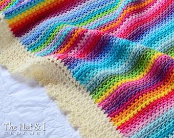 Crochet Blanket PATTERN - Crayon Box Blanket - crochet pattern modern rainbow gypsy afghan, crochet afghan pattern - Instant PDF Download