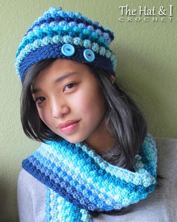 Crochet Hat Scarf Pattern Bobblicious Crochet Pattern Etsy
