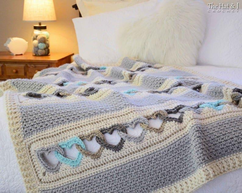 Crochet PATTERN  With All My Heart  crochet blanket pattern