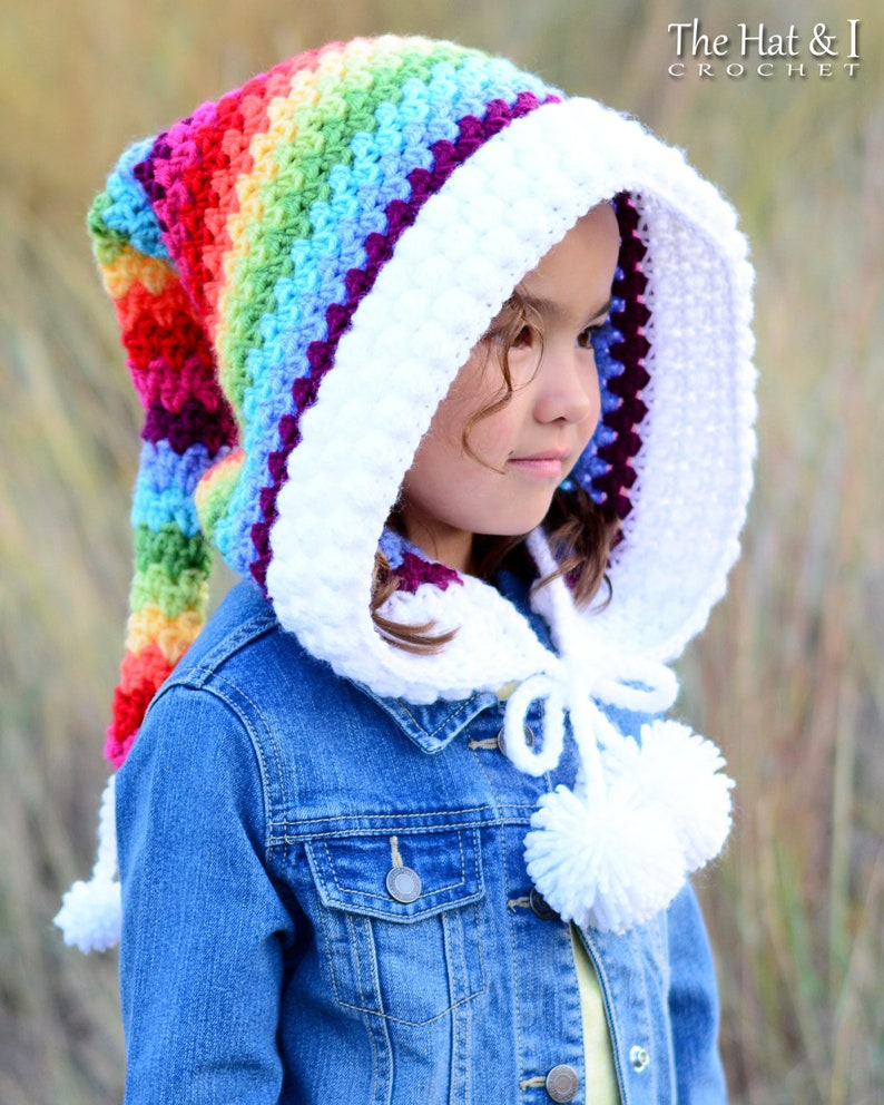 5d15a212785 Crochet PATTERN Over the Rainbow crochet hood pattern