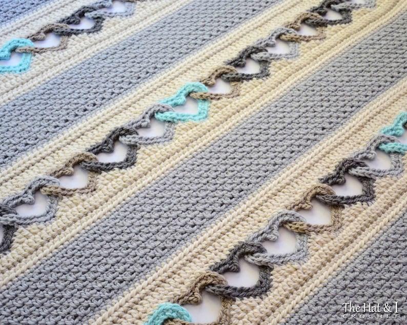 Crochet Blanket Pattern With All My Heart Crochet Pattern Etsy