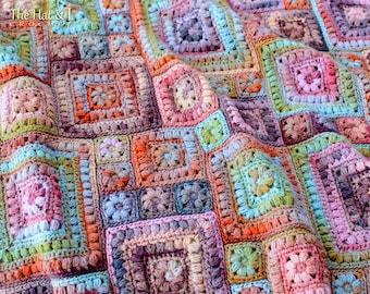 Crochet PATTERN - Square Scramble - crochet blanket pattern, baby throw blanket, granny squares afghan pattern - Instant PDF Download