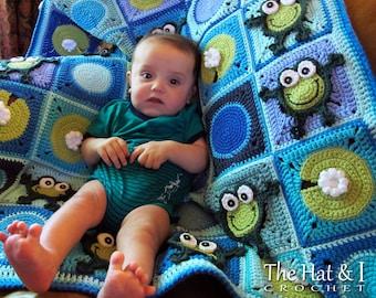 Crochet Blanket PATTERN - Frog Frenzy - crochet pattern for baby throw blanket, crochet afghan pattern, frog blanket - Instant PDF Download