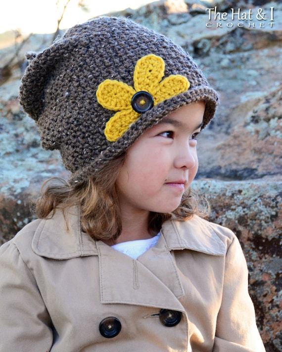 Crochet Hat Pattern Pretty Petals Slouchy Crochet Pattern Etsy