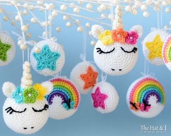 Crochet PATTERN - Unicorn Utopia Ornaments - crochet unicorn pattern, unicorn ornament pattern, star, rainbow pattern - Instant PDF Download