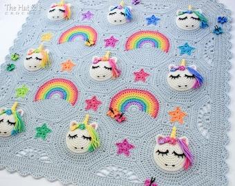 Crochet PATTERN - Unicorn Utopia - crochet blanket pattern, unicorn afghan pattern, rainbow baby blanket pattern - Instant PDF Download