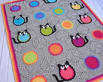 Crochet PATTERN - Cat Lover - crochet blanket pattern w/ cats, cat afghan pattern, crochet cat throw blanket pattern - Instant PDF Download