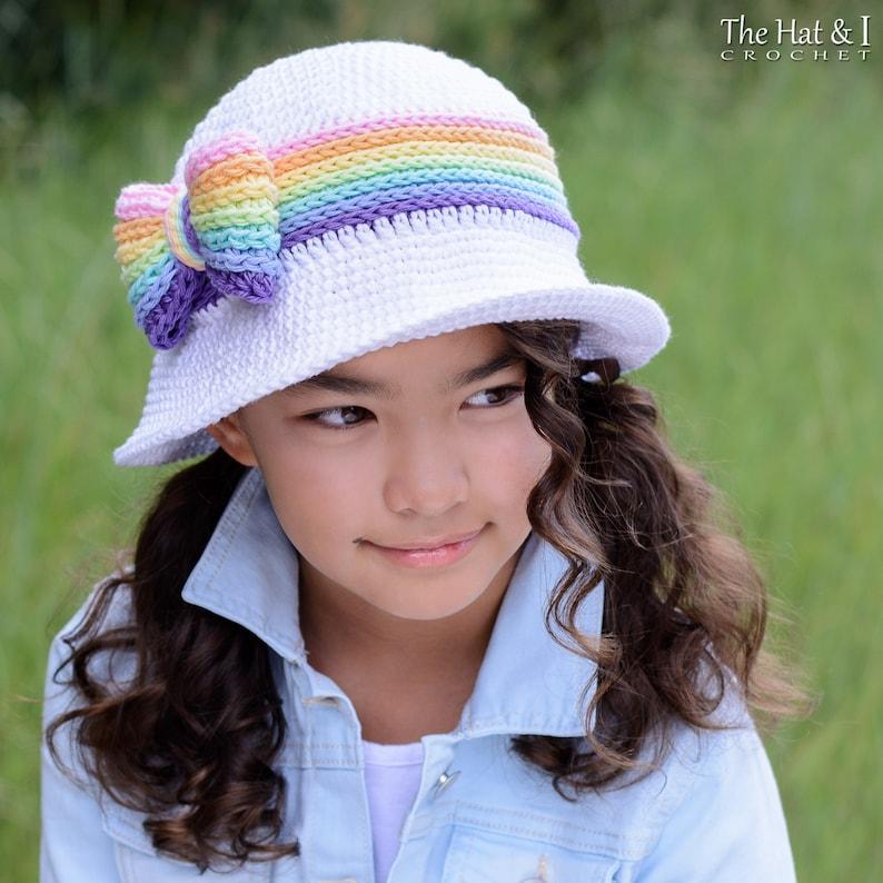 Crochet Hat PATTERN  Rainbow Reflections Sun Hat  crochet image 0
