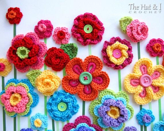 Crochet pattern floral fantasy 5 colorful crochet flower etsy