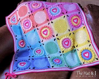 Crochet Blanket PATTERN - Follow Your Heart - crochet pattern for baby throw blanket, crochet heart afghan pattern - Instant PDF Download