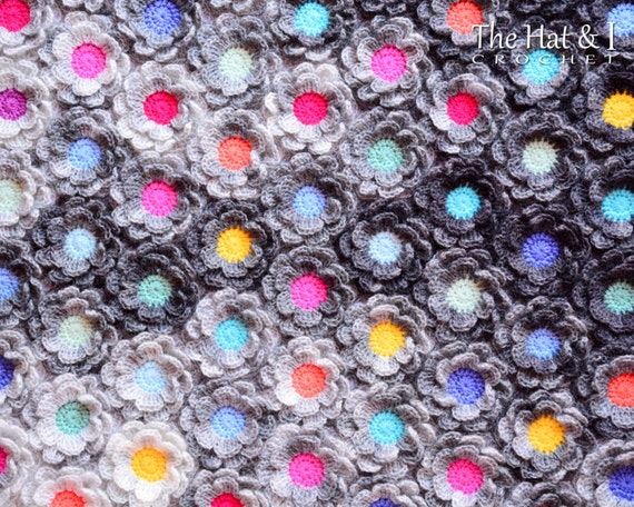 Crochet Blanket Pattern Rainy Day Flowers Crochet Pattern Etsy