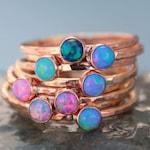ROSE GOLD OPAL Stacking ring ~ Opal ring - Pink Gold Opal Ring - Gemstone Ring - October Ring - stacking gemstone ring