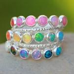 Eternity Opal Band - Multi Gemstone ring - Multi Stone Ring - Opal Stacking ring ~ Multiple gemstone ring ~ Opal ring -Sterling silver opal