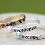 Hand Stamped Stacking Birthstone Ring - Natural Gemstone - Geniune birthstone - Mother's Ring - Kids name ring - Birthstone Ring