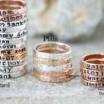 Hand Stamped Stacking Rings - name ring - Personalized Gold, fine silver, rose gold hammered rings -kids name rings - organic rings - hand s