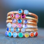 Multi stone ring - multi birthstone ring - multi opal ring - stacking birthstone ring - stacking rings