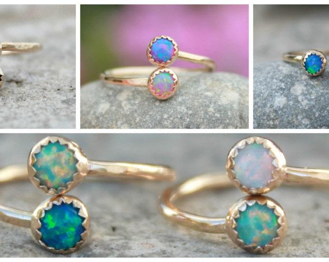 Adjustable Gemstone Ring Gold Adjustable Opal Stacking ring ~ Gold Opal ring Gold-filled Opal RING