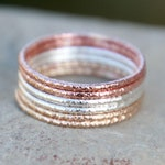 Thin Stacking Ring - GLITTER STACKING RINGS - Faceted Rings - Rose Gold - Gold - Sterling Silver Stacking Rings - modern minimalist jewelry