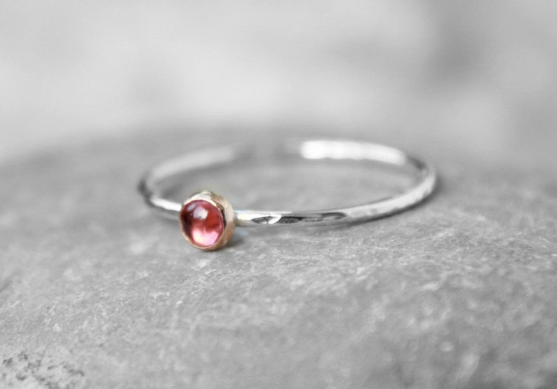 PINK TOURMALINE STACKING Ring  thin gemstone ring  image 0
