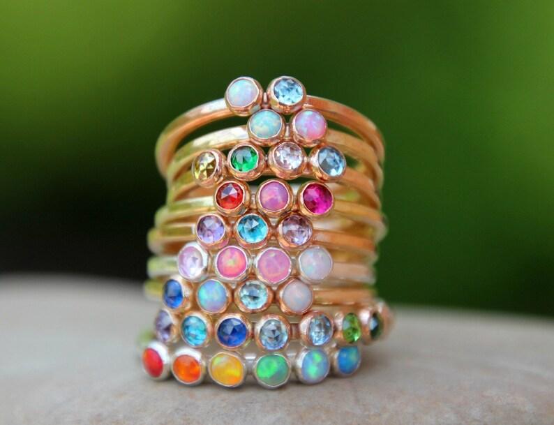 Multi stone ring  multi birthstone ring  multi opal ring  image 0