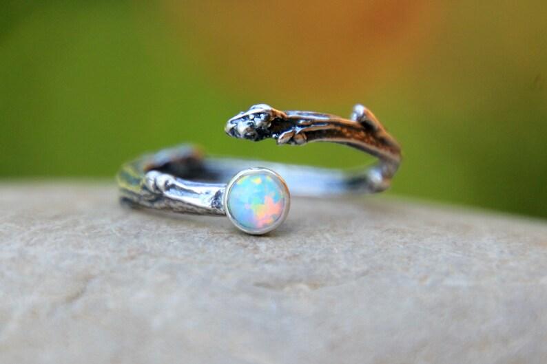 ADJUSTABLE TWIG Ring  birthstone twig ring  Opal Twig Ring  image 0
