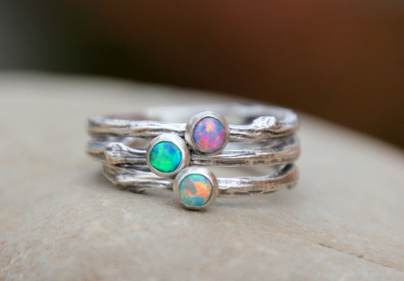 TWIG STACKING RING  birthstone twig ring  Opal Twig Ring  image 0