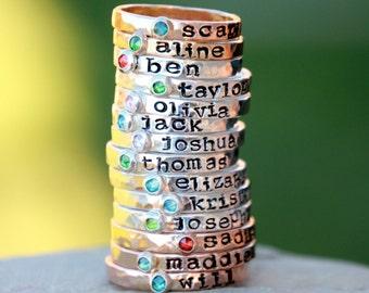 Hand Stamped Stacking Birthstone Ring - Gemstone  - birthstone - Mother's Ring - Kids name ring - Birthstone Ring - Name Ring, Stacking Ring