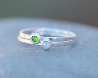 TINY BIRTHSTONE STACKING Ring- birthstone rings - stackings rings - stackable rings - birthstone stackable rings - birthstone jewelry