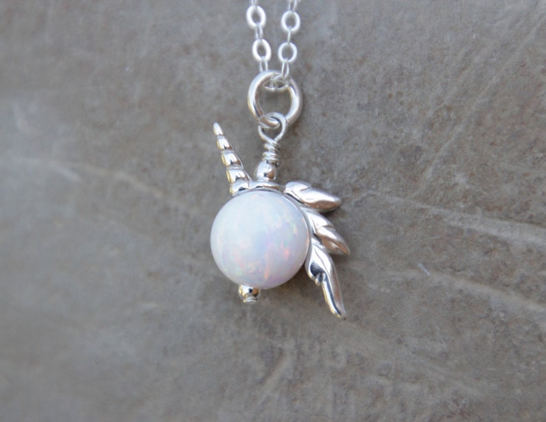 UNICORN NECKLACE  Sterling Silver Unicorn opal bead Necklace image 0