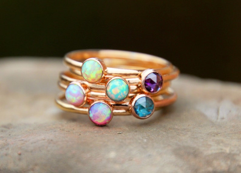 ROSE GOLD STACKING Ring Rose Gold Opal ring  Rose Gold image 0