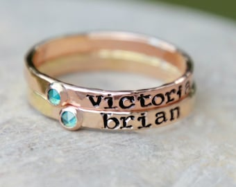 Hand Stamped BIRTHSTONE STACKING RING- stamped birthstone ring - stamped stacking birthstone ring - birthstone name ring - kids name ring