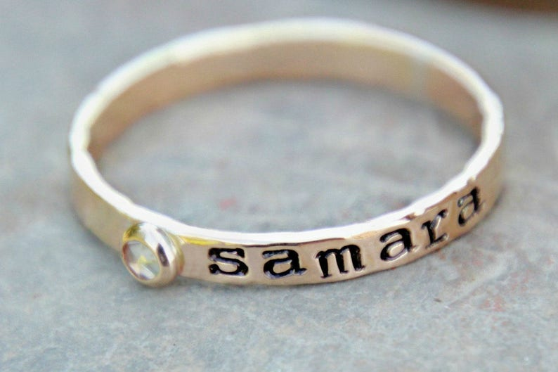 Hand Stamped Stacking Birthstone Ring  Gemstone   birthstone image 0