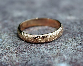 14K Gold Flower Pattern Band - floral stack ring - floral ring - gold floral wedding band