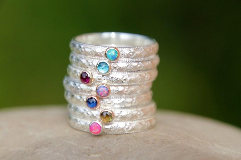 TINY GEMSTONE STACKING Ring  opal ring  stacking ring  gold image 0