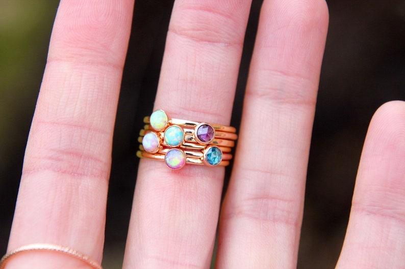 ROSE GOLD BIRTHSTONE Ring Rose Gold Opal ring  Rose Gold image 0