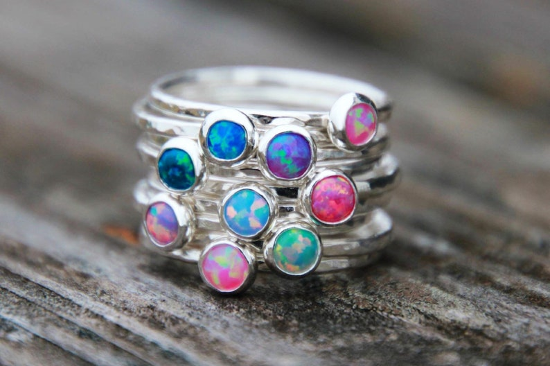 25 DIFFERENT COLORED OPALS Colorful Opal Ring  Silver Opal image 0