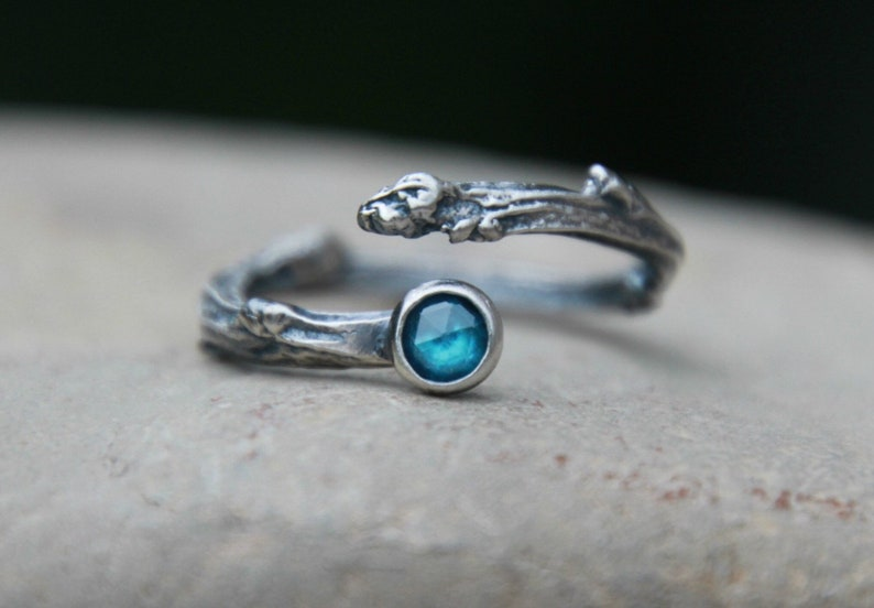 Adjustable Twig Ring  birthstone twig ring  Opal Twig Ring  image 0