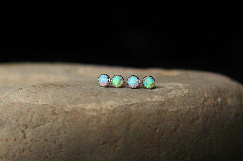 TINY STUD EARRINGS  Helix Piercing  3mm Tiny Opal Earring  image 0