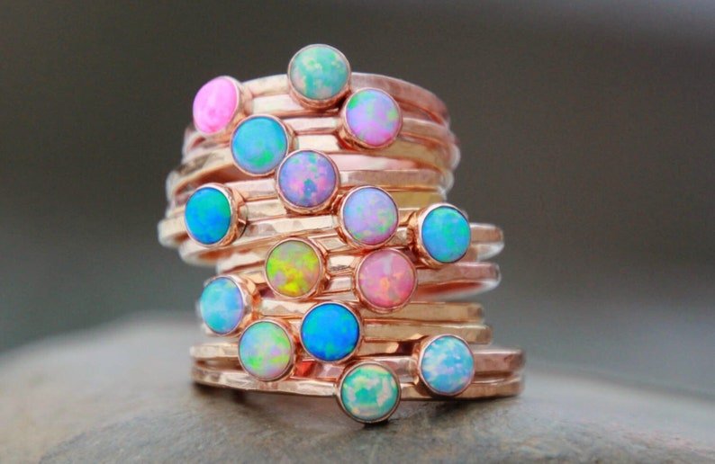ROSE GOLD OPAL Stacking ring  Opal ring  Pink Gold Opal Ring image 0