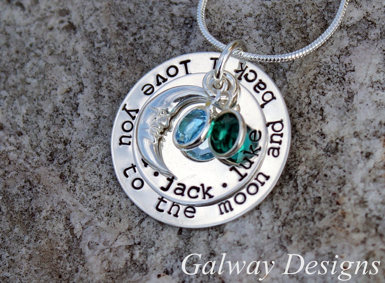 I love you to the moon and back - Hand Stamped Necklace - Sterling Silver -  TYPEWRITER FONT