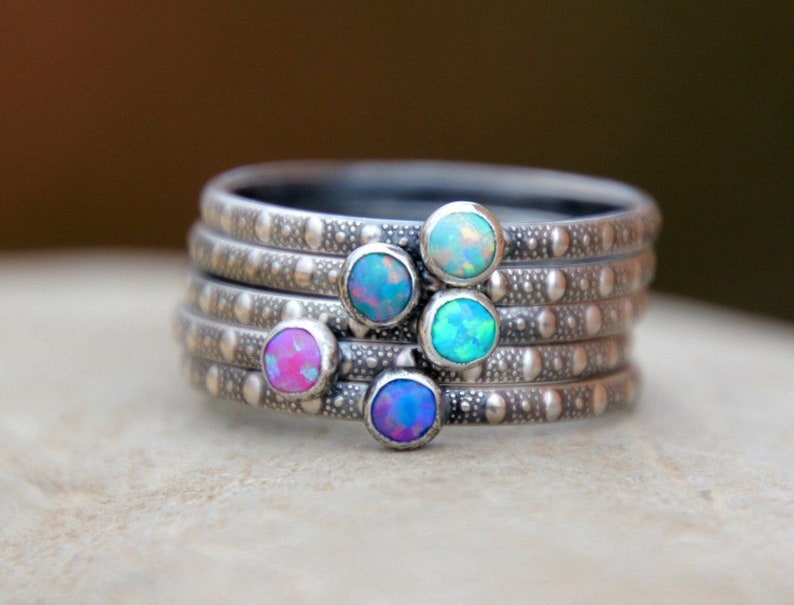 DAINTY DOT STACKING Ring  opal ring  stacking ring  dainty image 0
