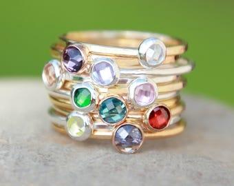 Birthstone Ring - ROSE Gold Birthstone Ring - GOLD Birthstone Ring- SILVER Birthstone Ring -Mother's Ring -Gemstone Ring- Birthstone Jewelry